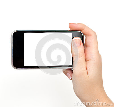 Woman hand holding the phone