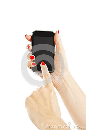 Woman hand holding the phone tablet touch computer gadget