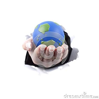 Woman hand holding planet earth globe