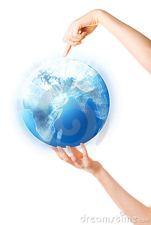Free Woman Hand Holding Shining Globe Royalty Free Stock Image - 6436056