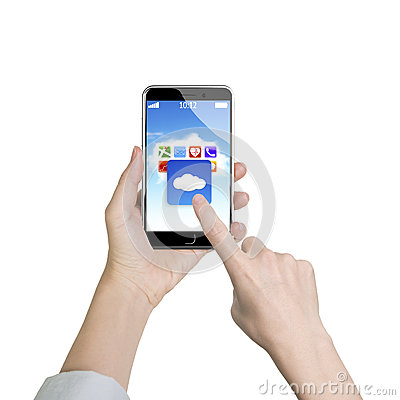 Free Woman Hand Holding Smart Phone Finger Touching Cloud Application Stock Images - 57178984