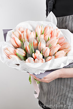 Free Woman Hand Holding Soft Pink Tulips Flowers On White Background. Bouquet Decorated With Kraft Paper Royalty Free Stock Photography - 87350797