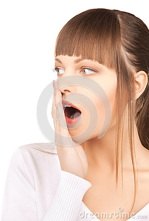Woman with hand over mouth