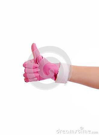 Woman hand in pink rubber glove gesturing ok (yes) isolated on w