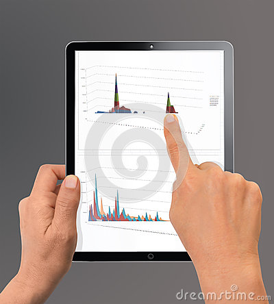 Woman hand pointing to chart Stock Photo
