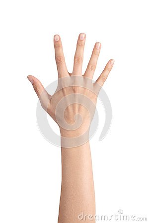 Woman hand showing the five fingers
