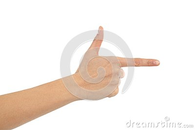 Woman hand showing forefinger in gun sign