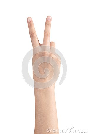 Woman hand showing two fingers