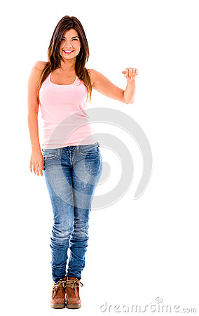 Woman with hand on something