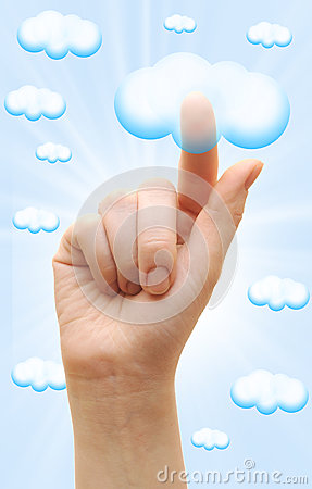 Woman hand touch the cloud