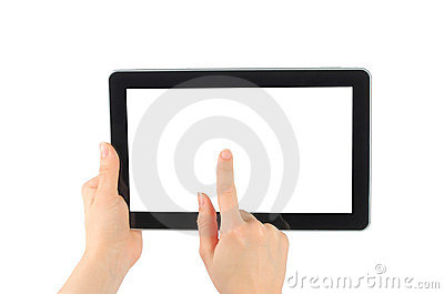 Woman hand with touch screen device