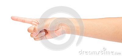 Woman hand touching virtual screen.