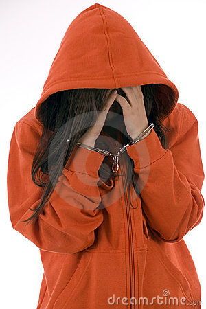 Woman with handcuffed hands