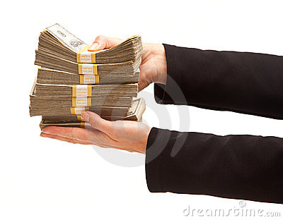 Woman Handing Over Hundreds of Dollars