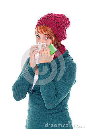 woman with handkerchief catch a cold
