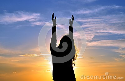 Woman with hands in the air