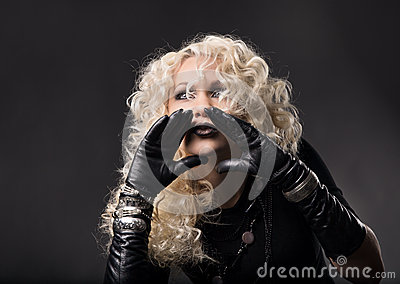 Woman hands around mouth, loud talking speaking, blonde curly ha