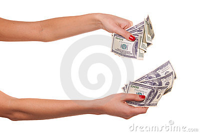 Woman hands and dollars.