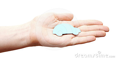 Woman hands holding blue car