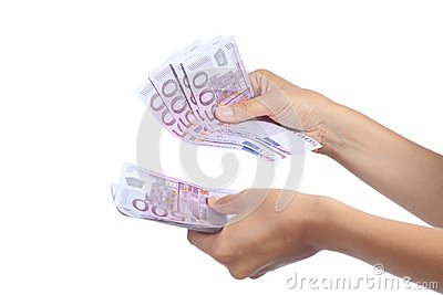 Woman hands holding and counting a lot of five hundred euros banknotes