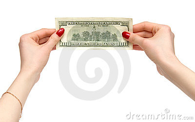 Woman hands holding dollar