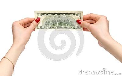 Woman hands holding dollar