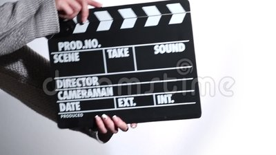 Woman hands holding film clapper stock video