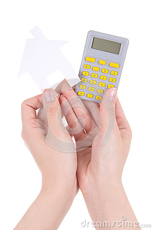 Free Woman Hands Holding Pocket Calculator And Paper House Isolated O Royalty Free Stock Photography - 40107057