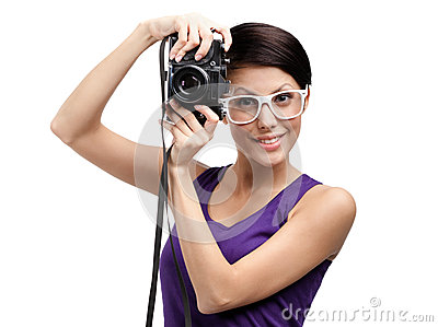 Woman hands professional photographic camera