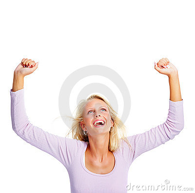 Woman with hands raised isolated against white