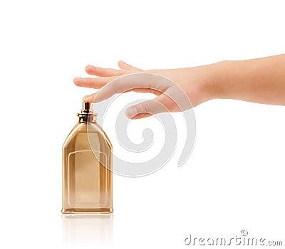 Woman hands spraying perfume Stock Photo