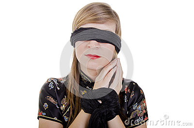 Woman hands tied up and blindfolded