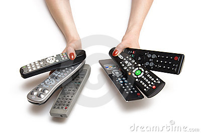 Woman hands with tv controls