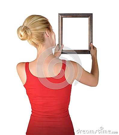 Woman Hanging Blank Art Frame