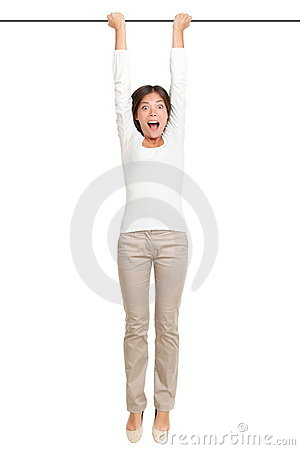 Woman hanging isolated