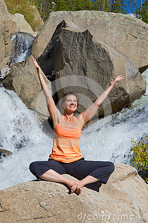 Woman Happily Practicing Yoga