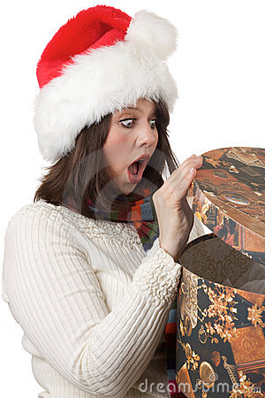 Woman happy with Christmas present