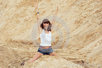 Woman with happy emotion on beach