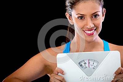 Woman happy with her weight