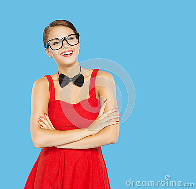 Free Woman Happy In Funny Vintage Glasses And Bow Tie O Stock Image - 43026151