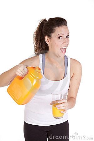 Woman happy with orange juice
