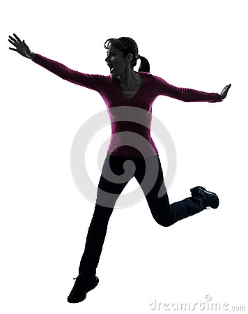 Woman happy running jumping silhouette