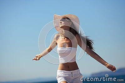 Woman happy smiling joyful on beach