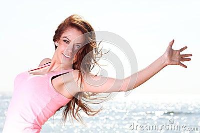 Woman happy smiling joyful Beautiful  girl