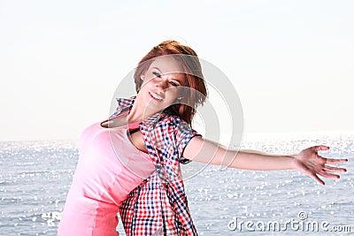 Woman happy smiling joyful Beautiful young cheerful Caucasian fe