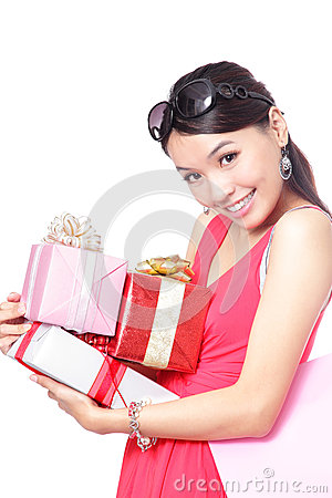 Woman happy take gifts with smile
