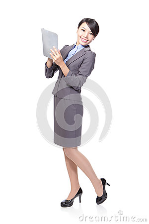 Woman happy using tablet pc
