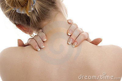 Woman has a back pain.