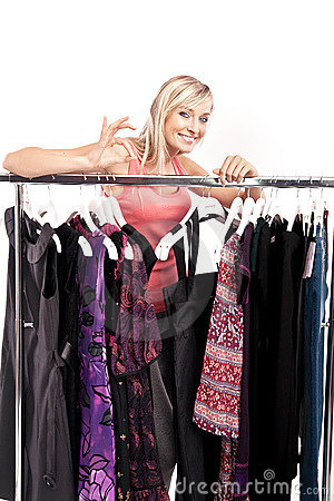 Woman has a plenty of clothes to choose from