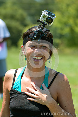 Woman Has Video Camera Strapped To Head Editorial Photo